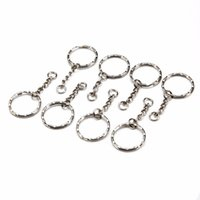 anel de resina prata venda por atacado-50 Pcs Anel Dividido Chaveiro Chave Fob Conector 4 Cadeia de Corrente Chave-anel Prata 55 Longo