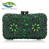 Wholesale river wedding - Mystic River Women Clutch Bags Crystal Evening Bag Party Purse Green Ladies Wedding Clutches With Long Chain