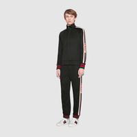 Wholesale Suit Canvas - 2018 luxury designer brand best version Autumn Winter men clothing red green striped Tracksuits letter print zipper suit sweatshirt
