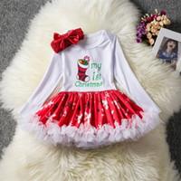 yeni doğan yılbaşı çorapları toptan satış-Noel Bebek Elbiseler Kızlar Uzun Kollu Rompers Tutu Etekler Santas Ağacı Çorap Baskılı Elbise Bebek Kabarcık Etek + kafa bandı Xmas Yenidoğan Setleri