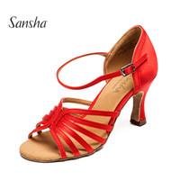 Wholesale golden dance shoes - Sansha Ballroom Dance Shoes Satin Upper Latin Tango Salsa Comfortable Dancing Shoes 7.5CM Heel Height Red Tan Golden 3 Colors BR31036S