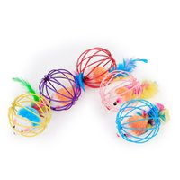 Wholesale cats fun - Lovely Fun Teasing Cat Toy Multi Color 6cm Mouse In Cage Ball Pet Toy 1 8tt C R