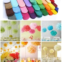 Wholesale paper hanging balls online - 10pcs Paper Flower Balls Wedding Xmas Birthday Party Home Decor Tissue Paper Flower Balls Hanging Decorative Origami Flower Ball