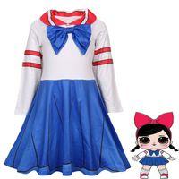 Wholesale school uniform girls clothing for sale - Baby girls School uniform Bow cosplay dress children girl doll princess dresses cartoon Spring Autumn Boutique kids Clothes C5585