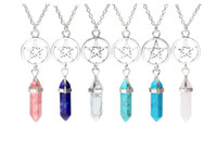 Wholesale natural crystal opal - Pentagram Hexagonal Columns Natural Quartz Crystal Bullet Chakra Healing Necklace Vintage Silver Necklace Pendant For Women Jewelry Gift New