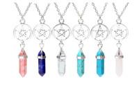 Wholesale vintage quartz necklace - Pentagram Hexagonal Columns Natural Quartz Crystal Bullet Chakra Healing Necklace Vintage Silver Necklace Pendant For Women Jewelry Gift New