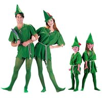 Wholesale green elf costume - Free Shipping Kids Adult Peter Pan Costume Halloween Costume for Men Women Green Elf Parent-child Christmas Costumes