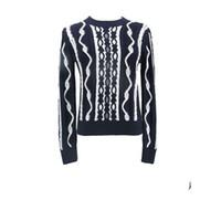 schwarze pullover weiße streifen frauen großhandel-Luxus Europäische Schwarz Und Weiß Streifen Dreidimensionale Pullover Mode-Trend Männer Und Frauen Paare Rundhals Pullover HFSSMY012