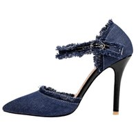 Wholesale Blue Jeans Heels - SJJH Woman Jeans Sandals with Stiletto Heel and Pointed Toe Elegant Style Fashion Casual Shoes with Large Size Available A004
