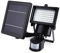 projecteurs de mouvement achat en gros de-10W 60leds IP65 étanche Led Lampes Solaires Pir Capteur De Mouvement Solaire Induction Sens Induit Led Projecteurs Froid Blanc Lampe Publicitaire