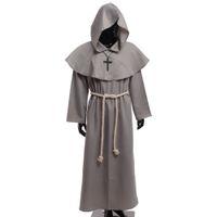 ingrosso costumi cosplay medievali-Costume da Frate medievale Vintage Renaissance Priest Monk Cowl Robes Abiti Cosplay con croce Collana per uomo adulto Regali