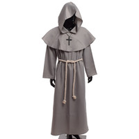 Wholesale Vintage Carnival Costumes - Medieval Friar Costume Vintage Renaissance Priest Monk Cowl Robes Cosplay Outfits with Cross Necklace for Adult Men Gifts