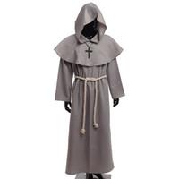 eski karnaval kıyafetleri toptan satış-Ortaçağ Friar Kostüm Vintage Rönesans Priest Keşiş Kukuletası Bornozlar Cosplay Kıyafetleri ile Çapraz Kolye Yetişkin Erkekler için Hediyeler
