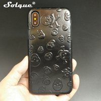 Wholesale Skull Cell Case - Solque Real Genuine Leather Case For Iphone X 10 Cell Phone Luxury Leather Ultra Slim 3d Skull Hard Cover Cases For Iphonex Cute