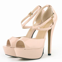 Wholesale sexy strappy green heels online - Women sandals Patent Leather Sexy Stiletto High Heels Shoes Open Toe Strappy Platform Ladies Party Pumps red lady wedding shoes cm PA