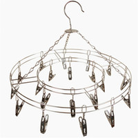 Wholesale underwear closet - 20 Clips Stainless Steel Underwear Rack Prevent Clothing Deformation Drying Hanger Save Space New 6qx C R