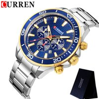 вахта mens нержавеющей стали curren оптовых-CURREN Mens Watches Waterproof Top  Chronograph Fashion Male Clock Stainless steel Sport  Wristwatch 8309