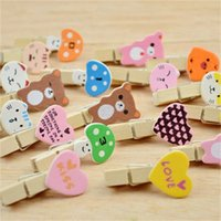Wholesale wood craft shapes - Cartoon Heart Shape Wooden Clip DIY Photo Clips With Rope Craft Decoration Clothespin Many Styles 1 78gc C R