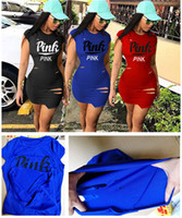 Wholesale short tight sexy dresses - Love Pink Letter Women Sexy Dress Summer Casual Short Sleeve Bandage Ripped Holes Bodycon Mini Dress Fashion Tight Skirts Sports Club Wear