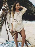 seksi beyaz kadın mayo toptan satış-Seksi Beyaz Kızlar Plaj bikini Elbise Swim Suit Beachwear Mayo Kadınlar Plaj Cover Up Siyah Mayo Hollow Tığ Bayanlar Tunik praia