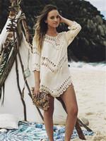 ingrosso vestiti di tunica nera-Sexy White Girls Beach bikini Dress Swim Suit Beachwear Costumi da bagno Donna Beach Cover Up Black Swimsuit Hollow Crochet Ladies Tunica praia