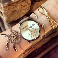 silber pfeil armband großhandel-Punk Bohemian Gold Silber Farbe Bowknot Arrow Dreamcatcher Armband Set für Frauen Mädchen Eröffnung Armband Armreif Set 3tlg