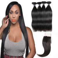 Wholesale best human hair weave for sale - Brazilian Hair Weaves Best A Human Hair Bundles With Closure Straight Hair Extensions bundles With Closure
