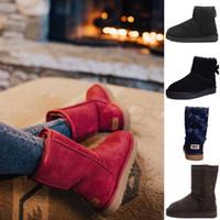 ingrosso boot bling-UGG Stivali da donna Australia Classic Bailey Bow Knle Knee Short Designer a metà inverno Stivali da neve Bottone di cristallo Bling Boot 36-41
