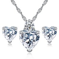 love studs 2018 - High quality CZ Heart necklace stud Earrings sets crystal Rhinestone Love pendant Charm Sterling silver Chain For women Fashion Jewerly