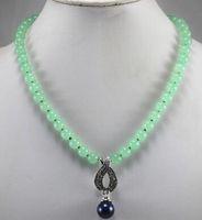 colar de pérolas azul claro venda por atacado-Frete grátis simples 8mm light green jades talão colar + 14mm azul escuro shell pearl pingente de presente frete grátis