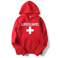 женская модель hoodies оптовых-RUMEIAI Mens Hoodies Sweatshirts Lifeguard Print Design Black/Gray/red Men Women Hoodies Casual Hip Hop Hooded  Clothing