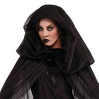 xxs disfraces de halloween al por mayor-Unisex Halloween Mujeres adultas Disfraces de fantasmas de miedo Niño Niña Traje de bruja Ropa de diablo Trajes de niños con Cosplay Capa larga de lujo