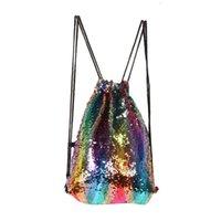 renkli çocuklar sırt çantaları toptan satış-Yeni renkli Mermaid pul spor çanta çocuk omuz çantaları adam kadın spor omuz çantası sırt çantası çocuklar İpli Sparkle