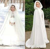 vestido de noiva de pele venda por atacado-Plus size Inverno 2019 Nupcial Xales Casacos Cape Faux Fur Casacos de Natal Com Capuz Perfeito Casamento Wraps Abaya Vestidos de Casamento