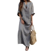 Wholesale Mori Plus Size - S-5XL Women Vintage Cotton linen Maxi Long Dress Striped Retro Pockets Female Loose V Neck Dresses Vestidos Plus Size Mori Girl