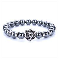 silberner löwenschmuck großhandel-7 Chakra Silber Überzogene Lion Mischfarbe Perlen Armbänder Mode stein Charme Schmuck Yoga Energie Armband Armreifen Unisex Lava Armband