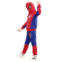 Wholesale boys spider costume - Spiderman Boys Clothing Sets Spring Full Sleeve Spider Man Costumes Suits Cotton Sport Suit For Boys Clothes Kids Clothes Set