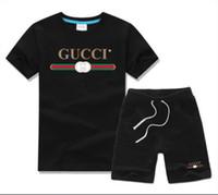 ingrosso insieme di spiaggia dei ragazzi-T-shirt per bambini pantaloni per bambini camicia in cotone per bambini sportswear sportivo per bambini 2 / set di t-shirt da spiaggia a maniche corte