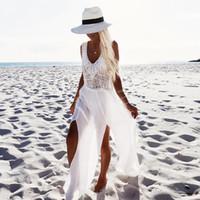 weißer chiffon-bikini-cover großhandel-Weiß Langes Kleid Mode Sommer Strand Kleider Für Damen Chiffon Bikini Patchwork Sexy Cover-Ups Freie Größe