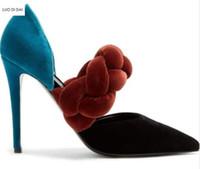 cuerda del dedo del pie al por mayor-2018 Nuevas mujeres de terciopelo de tacones altos del talón delgado mezclan bombas de color zapatos de fiesta del talón delgado punta del dedo del pie bombas zapatos de vestir zapatos gruesos de la cuerda
