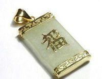 ingrosso collana placcata oro giallo 18k-Collana pendente in oro giallo naturale verde giada placcato oro