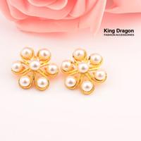 25mm tasten großhandel-Sparkly Perle Knöpfe mit Schaft zurück DIY Taste Dekoration Taste 40 teile / los 25 MM KC Gold Farbe