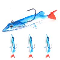 Wholesale simulation lure resale online - New silicon Rubber Lead hook simulation Fish VIB Bait cm g pc Blue Body Red Tail Soft lure