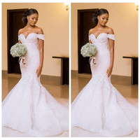 Wholesale ladies chart - Off Shoulder Lace Appliques Slim Mermaid Wedding Dresses 2018 Custom Beaded Bridal Gowns Beautiful Ladies Vestidos De Mariee