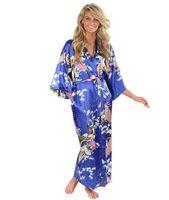 kimono yukata azul al por mayor-Venta caliente Azul Femenina Rayón de Seda Ropas Vestido Kimono Yukata Mujeres Chinas Lencería Sexy Ropa de Dormir Más Tamaño S M L XL XXL XXXL A-046