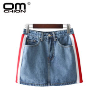 Wholesale ribbon jeans - OMCHION Summer Sexy Denim Skirts Striped Ribbon A-Line Short Shirts Pockets Above Knee Jeans Shirt Fashion Mini Skirt QRT15