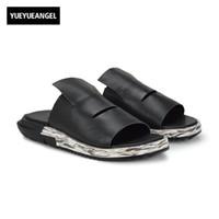 chaussures de glisse de la marque coréenne achat en gros de-Slip On Hommes Casual Chaussures Homme Sandale Nouvelle Mode En Cuir Véritable Plat De Haute Qualité Marque Style Coréen Épais En Bas Grande Taille 45