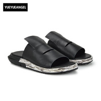 плоский сандалии корейский стиль оптовых-Slip On Men Casual Shoes Male Sandal New Fashion Genuine Leather Flat High Quality  Korean Style Thick Boom Large Size 45
