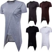 Wholesale Athletic Boy Shorts - New Design Spilt T-Shirt Men Boy Hip-hop Tops White Black Short Sleeve 100% Cotton Long T-shirts Tee Athletic Jogger Tee Top
