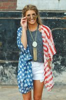 Wholesale cardigan tee for sale - Group buy Women Clothing Casual United States National Flag Printed Cardigan Tops Summer Female Tees without Buttons